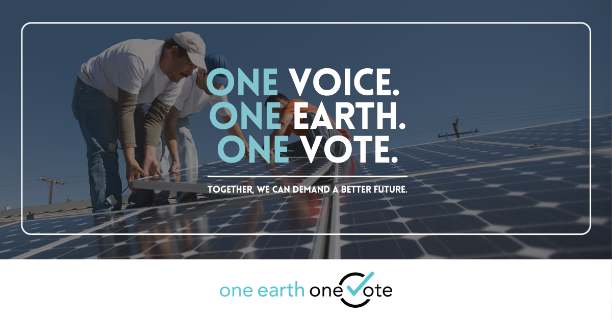 One Earth One Voice tagline over image of workers installing solar panels