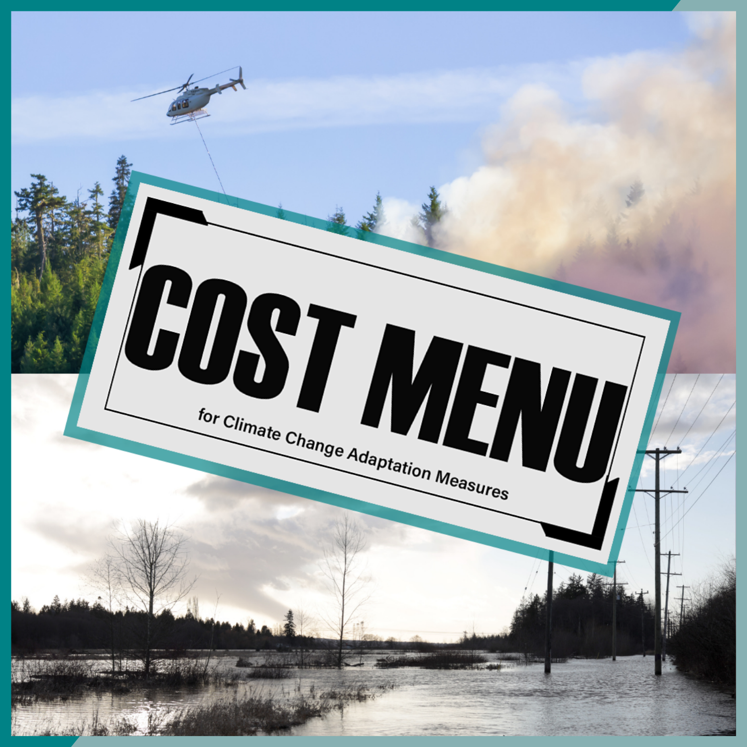 Wildfire and flood photos with a grey banner reads: COST MENU