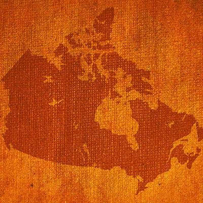 Orange textured map of so-called Canada