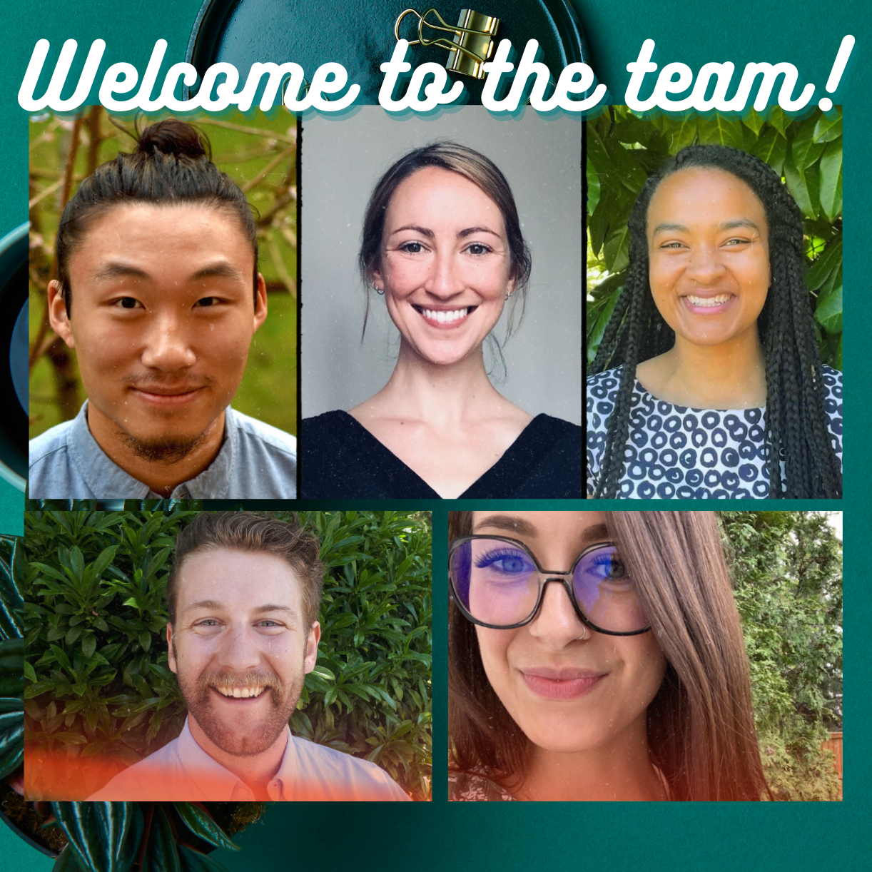Smiling faces and a text that reads: Welcome to the team!